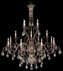 lighting three tier chandelier in cool moonlit patina with moon dusted crystals