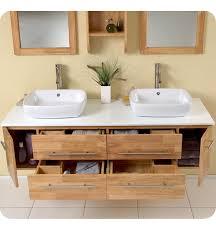 stylish modular wooden bathroom vanity. Fresca Bellezza Natural Wood Modern Double Vessel Sink Bathroom Vanity Stylish Modular Wooden