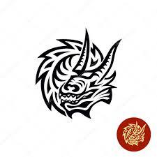дракон в стиле трайбл дракон тату стиль черный логотип векторное