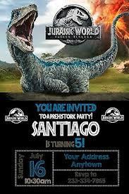 Jurassic Park Invitations Jurassic World Birthday Party Invitations Personalized