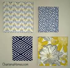 ... Blue Square Fabric Covered Canvas Wall Art Rectangle Modern Minimalist  Yellow Flowers Fun Options Simple Zigzag ...