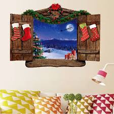 wood window scenery pattern removable wall sticker colormix 50x70cm