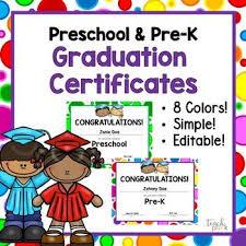 Preschool Graduation Certificate Editable Editable Preschool Pre K Graduation Certificates Preschool