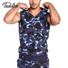 taddlee brand mens hoos tank top sleeveless cotton zip up vest active camo hooded men