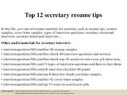 top 12 secretary resume tips 1 638jpgcb1427966630 examples of secretary resumes