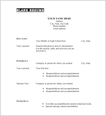 Blank Resume Template Free Blank Resume Template Free Blank Resume