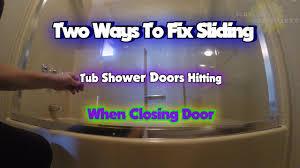 two ways to fix sliding glass tub shower doorting when closing door
