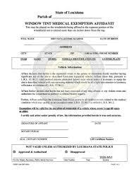 Louisiana Tint Exemption Form Fill Online Printable