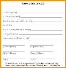 Printable Automobile Bill Of Sale Bill Of Sale Template Ontario