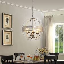 modern chandelier globe 6 light metal ceiling fixture round silver distress orb 1 of 3only 0 available