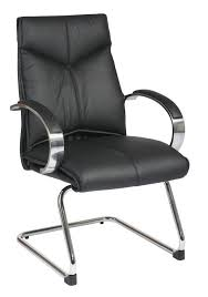 deluxe mid back black visitors leather chair with chrome finish sled base and padded polished aluminum arms