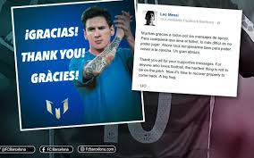Leo Messi thanks fans for their support