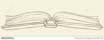 vector drawing open book in hardcover