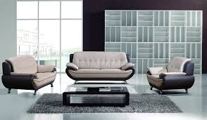 mixed gray leather living room set