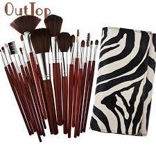 2017 hot 18pcs zebra design markings cosmetic makeup brush brushes set kit with bag mar30