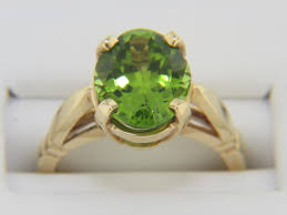 Vintage Oval Peridot Estate Ring With Very Fine Detail In 14k ...