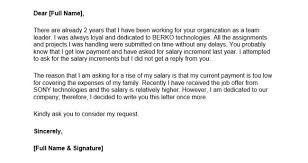 ask for a raise letter request for salary increase letter download sample request letter