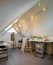 attic lighting. This Attic Is Finished And Used As A Private Art Studio. Rail Lighting Above The