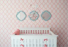 Cheerful Surprising Baby Girl Wallpaper Nursery Interior Decorating Ideas  Ribbons Ornament Shinning Reflection Mirrored Three