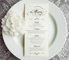 23 wedding menu templates free sample, example, format download Wedding Reception Menu Cards this elegant wedding reception menu template has digital cards that are single sided, 4x9 inches and can be printed on a high quality card stock wedding reception menu card template