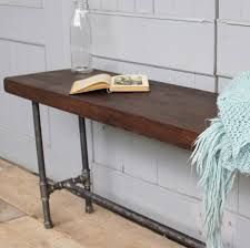industrial wood furniture. Industrial Wood And Steel Pipe Bench Furniture
