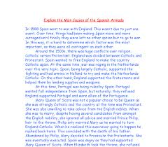 explain the main causes of the spanish armada gcse history  document image preview