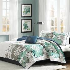 Teal Quilts, Over 100 Quilts Bedding Sets & Mizone Allison Blue/Grey Full-Queen Quilt Set Adamdwight.com