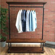 how to build a clothes rack with wood pipe clothing rack with cedar wood shelves