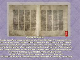 Image result for the Codex is one of the two earliest Christian Bibles. (The other is Codex Vaticanus in Rome.)