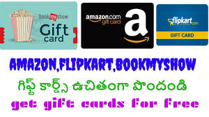how to get free gift cards for amazon flipkart bookmyshow in telugu free gift cards