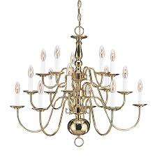 sea gull lighting traditional 30 5 in 15 light polished brass williamsburg candle chandelier energy