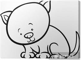 Canvas Schattig Kitten Cartoon Kleurplaat