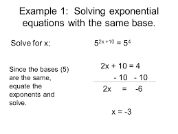 example 1 solving exponential equations with the same base