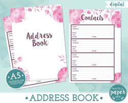A5 Planner Address Book Inserts - Digital - Printable - Fits Filofax ...