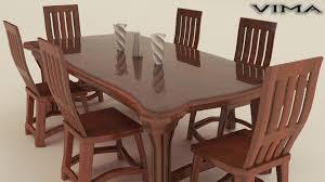 stylish wooden dining table set 3d model max obj fbx 1