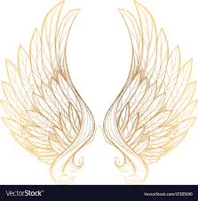 Gold And White Background Design Golden Wings Isolated On White Background Design