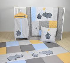 hippo baby quilt hunt playmat neutral baby bedding safari baby room decor playroom decor gray yellow blue colors