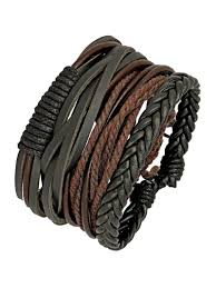 the jewelbox 100 genuine black leather brown dyed rope stylish wrist band strand bracelet