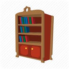 book bookcase bookshelf cartoon furniture shelf wood icon