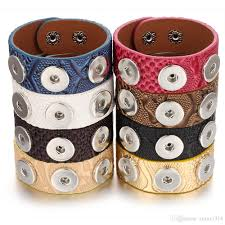 new noosa chunk jewelry 18mm leather snap bracelet for women men vintage three ons snap on bracelet wide leather bracelet charm bracelets silver