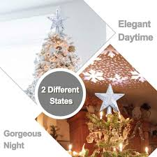 Lighted Globe Led Revolving Tree Topper 3d Hollow Star Christmas Tree Topper Lighted Sparkling Star With Rotating Snow Flake Projector Christmas Trees Xmas Ornament