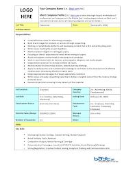 logo hereyour company name ie baytcom incshort company profile copywriter job description template by copywriter job description