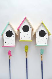 make these modern diy hand painted bird houses on aliceandlois com