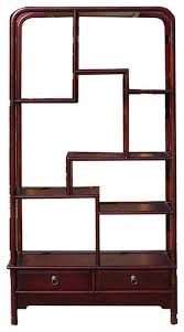 chinese oriental mahogany uneven open curio display cabinet asian display and wall shelves by golden lotus antiques
