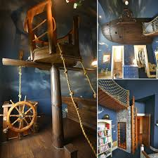awesome image of pirate bedroom decorating design ideas using dark blue sky bedroom wall paint including hanging pirate boat kid bed frame and solid walnut