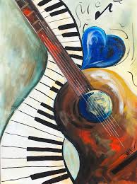 abstract acrylic painting on canvas with heart guitar and piano for the fully guided free