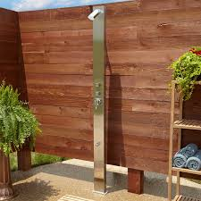 Outdoor Shower Sevona Freestanding Brushed Stainless Steel Shower Panel With