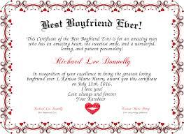 Best Boyfriend Ever Certificate Created With Certificatefun Com