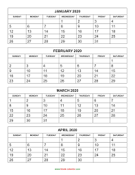 Free Download Printable Calendar 2020 4 Months Per Page 3