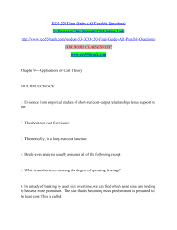 Eco 550 Final Guide All Possible Questions By